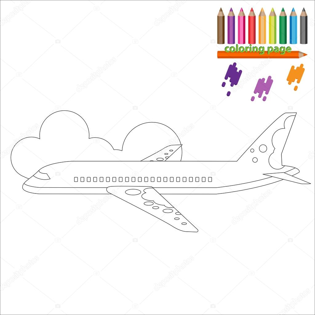 Uçak Ile Boyama Sayfası Stok Vektör Kagera 105725402