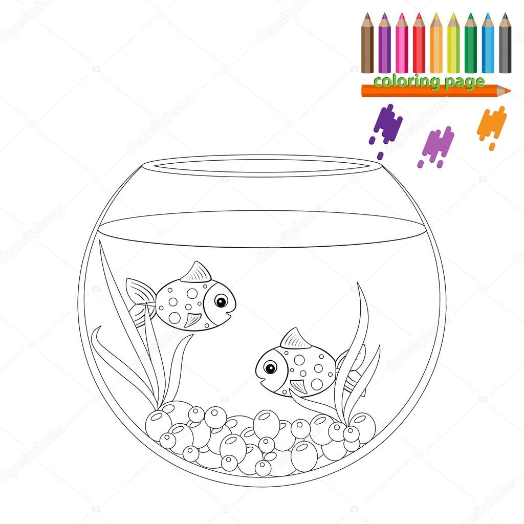 Coloring Page Two Fishes In The Round Aquarium Stock Vector