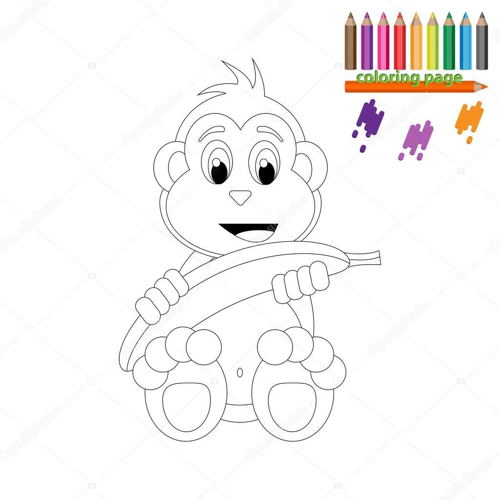 Boyama Sayfası Muz Ile Mutlu Maymun Stok Vektör Kagera 107342888