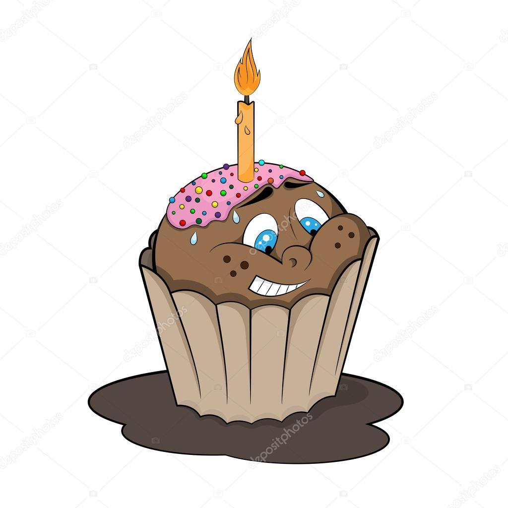 Funny cupcake con vela. Estilo de dibujos animados — Archivo ...