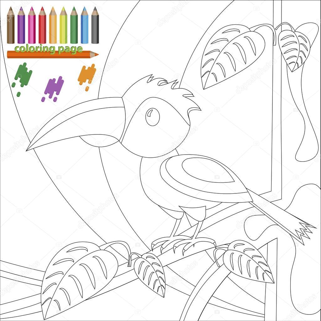 Página para colorear de aves en el árbol para niños — Archivo ...