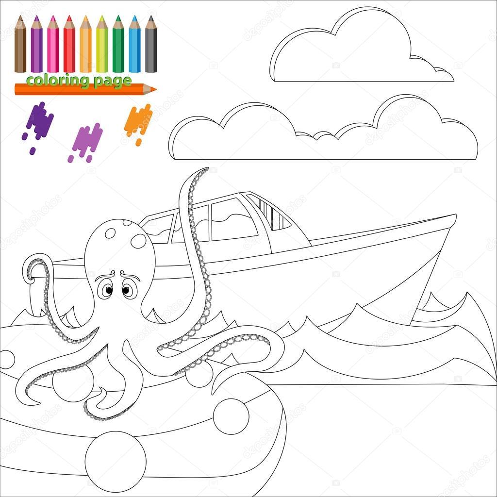 Kleurplaat Met Octopus In De Zee Stockvector C Kagera 99303014