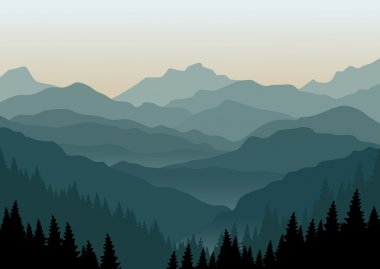 The morning at foggy mountains. Vector illustration. EPS 10. stock vector