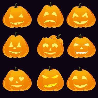 Set of Halloween pumpkins.
