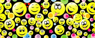 Colorful seamless backgrounds with smileys.