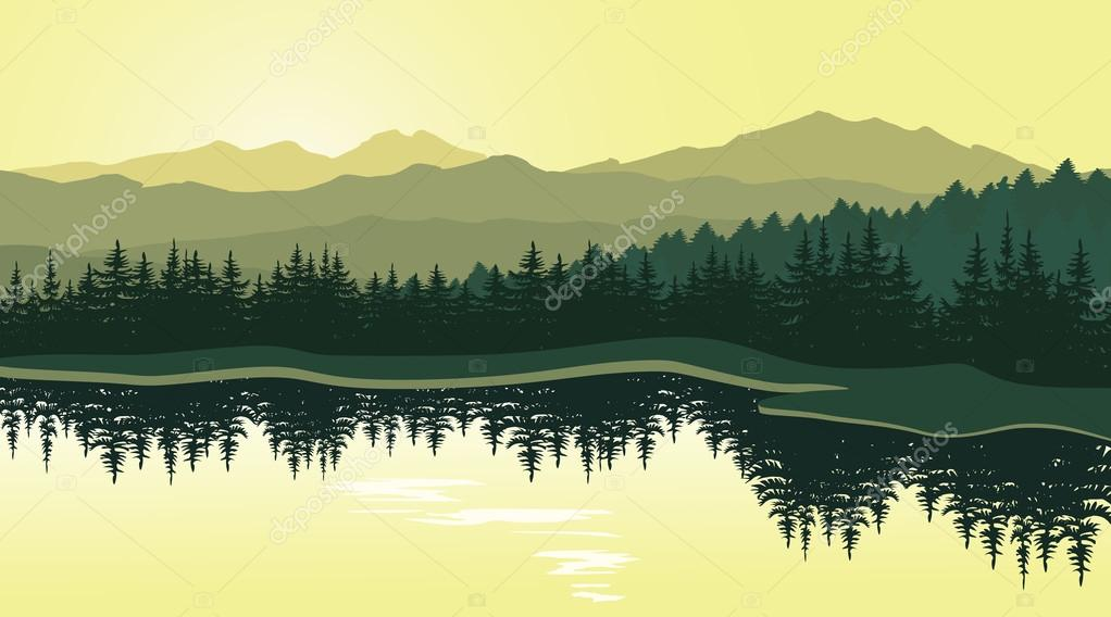 Beautiful mountain landscape with reflection in the lake.