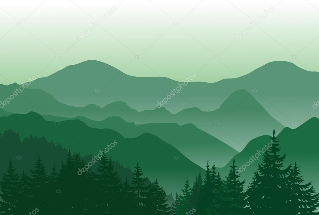 Beautiful green mountains. Summer landscape.