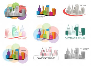 Set of colorful real estate emblems and logos.