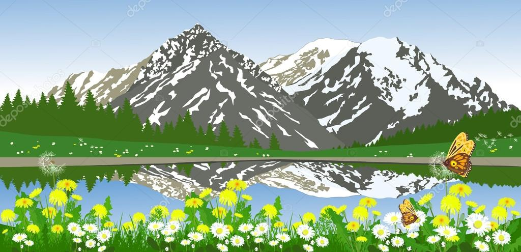 Green summer landscape with mountains, daisies and trees