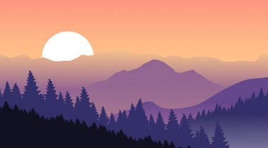Purple mountains on a background of pink sky.