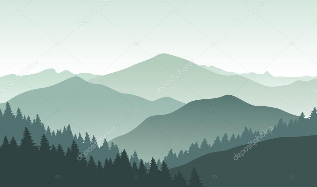 Grey foggy mountain landscape.