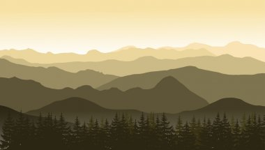 Mountain landscape in brown colors at the morning.