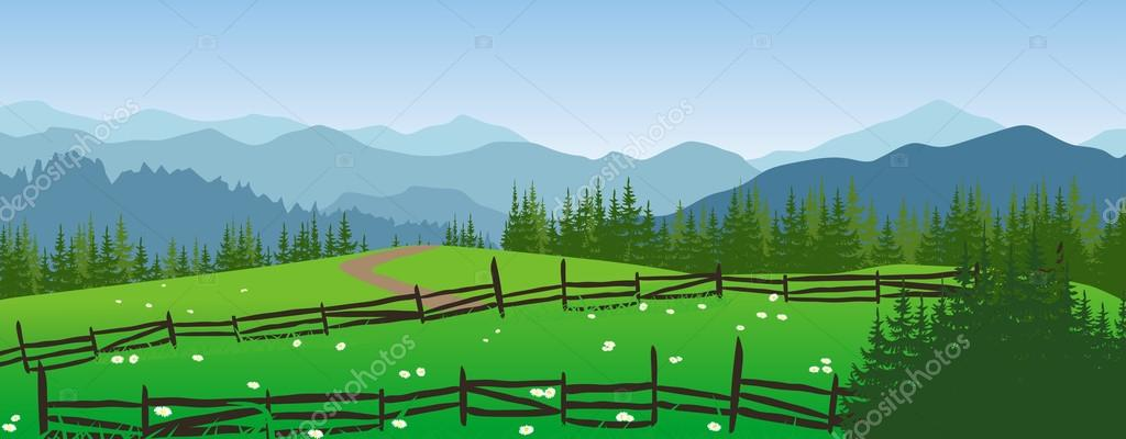 Mountains landscape with meadow and trees.