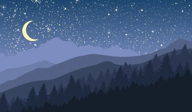 Night mountain landscape with new moon and stars.