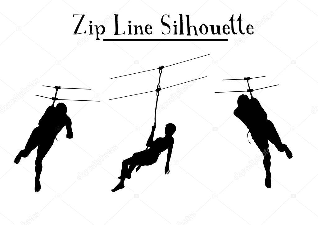 Vector Drawing Lines Zip : Zip line silhouette — stock vector paul petov