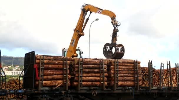 Kran belädt Zugmaschine mit Holz