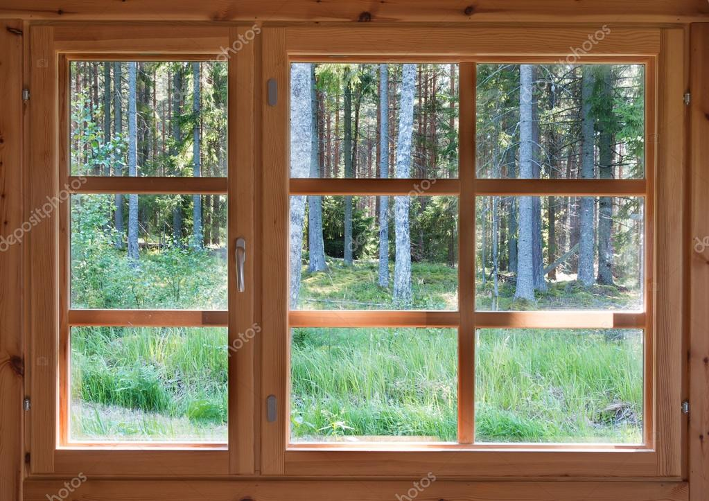 Blick aus dem fenster land  ins grüne sonnigen Sommer Wald im Fenster aus Holz Land ...