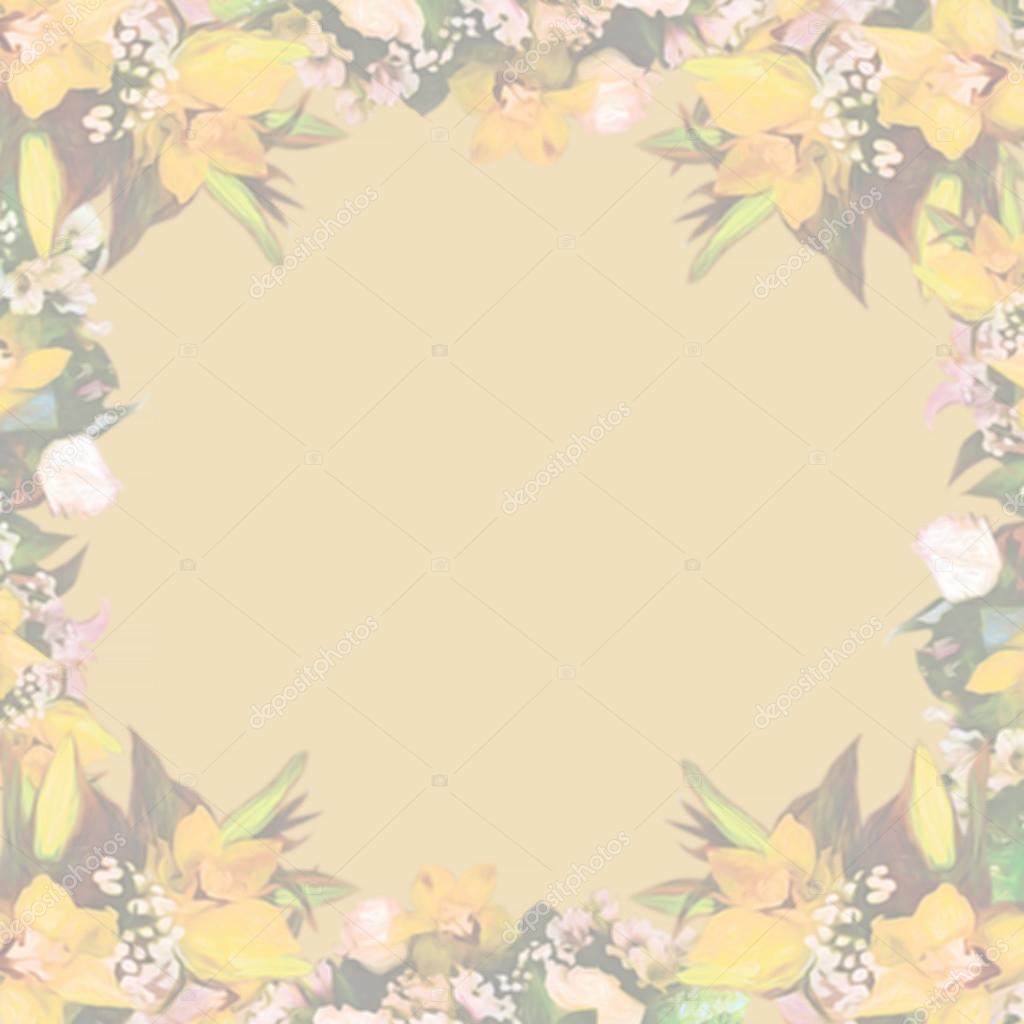 Stylized beautiful frame floral pattern