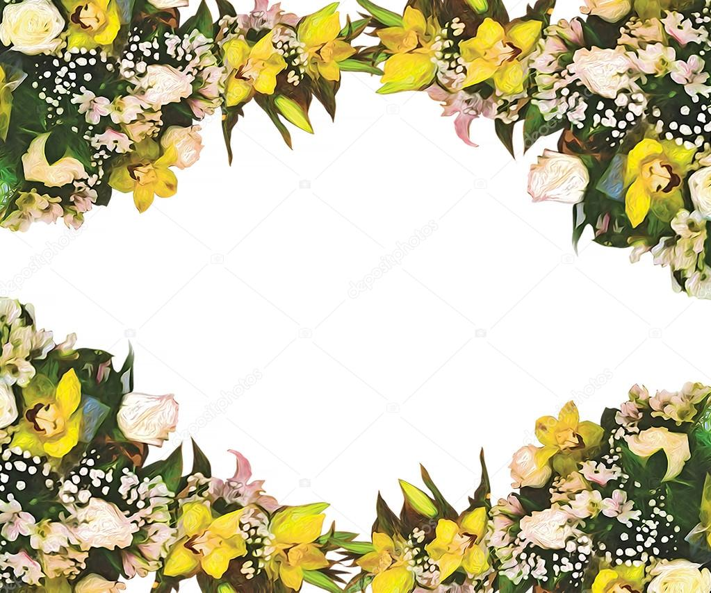 Stylized beautiful frame floral pattern
