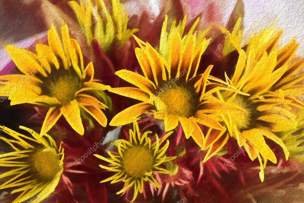 Beautiful stylized yellow gazania