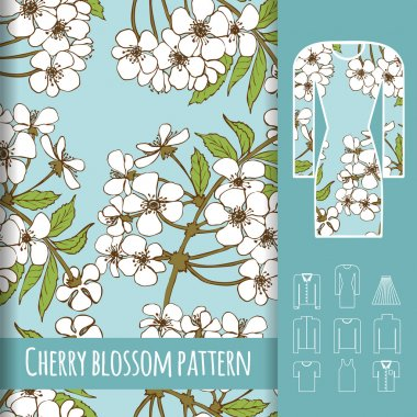 Cherry blossoms on delicate turquoise background