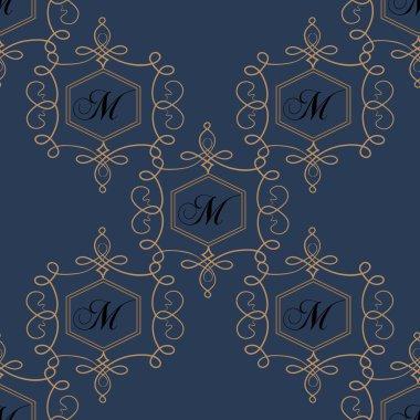 Flourish seamless pattern in dark colors. Modern retro monogram