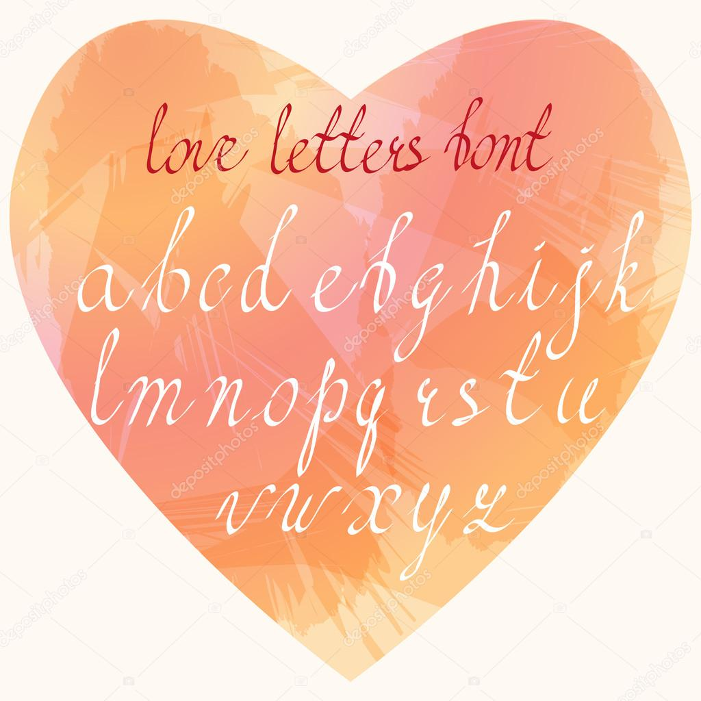 handmade love letters font hand drawn cursive letters in lower case stock vector