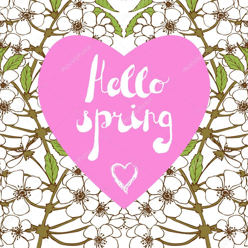 Spring Season Welcoming Season Greetings Stock Vector