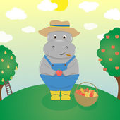 Fotografie Smiling cartoon hippo farmer at harvest time