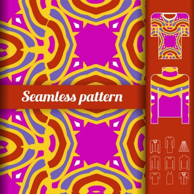 Trendy bright seamless pattern with examples of usage