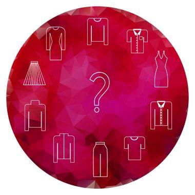 Clothes icons set on garnet gem