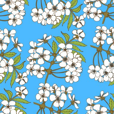 Cherry blossom seamless pattern. Floral vector design