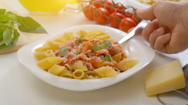 Hot Pasta with tomato Sauce, Parmesan Cheese and Basil on a Spoon