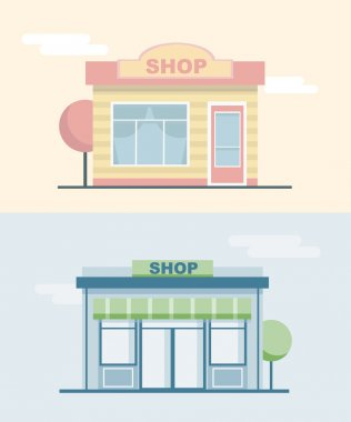 Shops and stores front icons set in flat design style.Landscape with buildings.Cityscape. Vector illustration