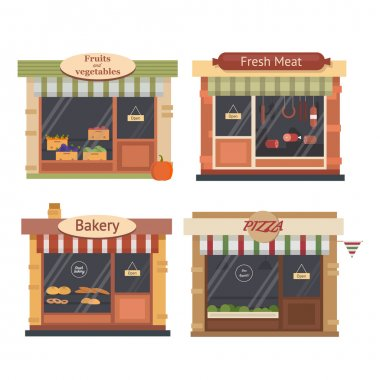 Shops and stores icons set in flat design style. Bakery, meat shop,vegetable and fruit  farm products, pizza cafe.