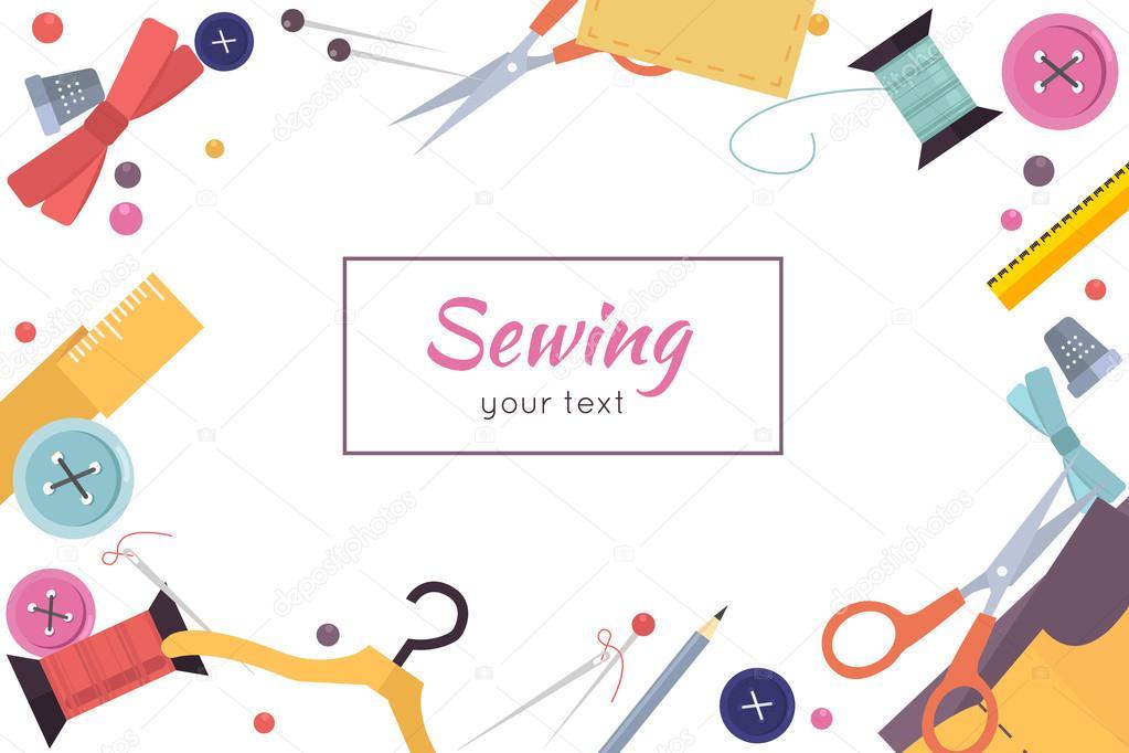 Marco de herramientas de costura y cinta de color. Kit de costura ...