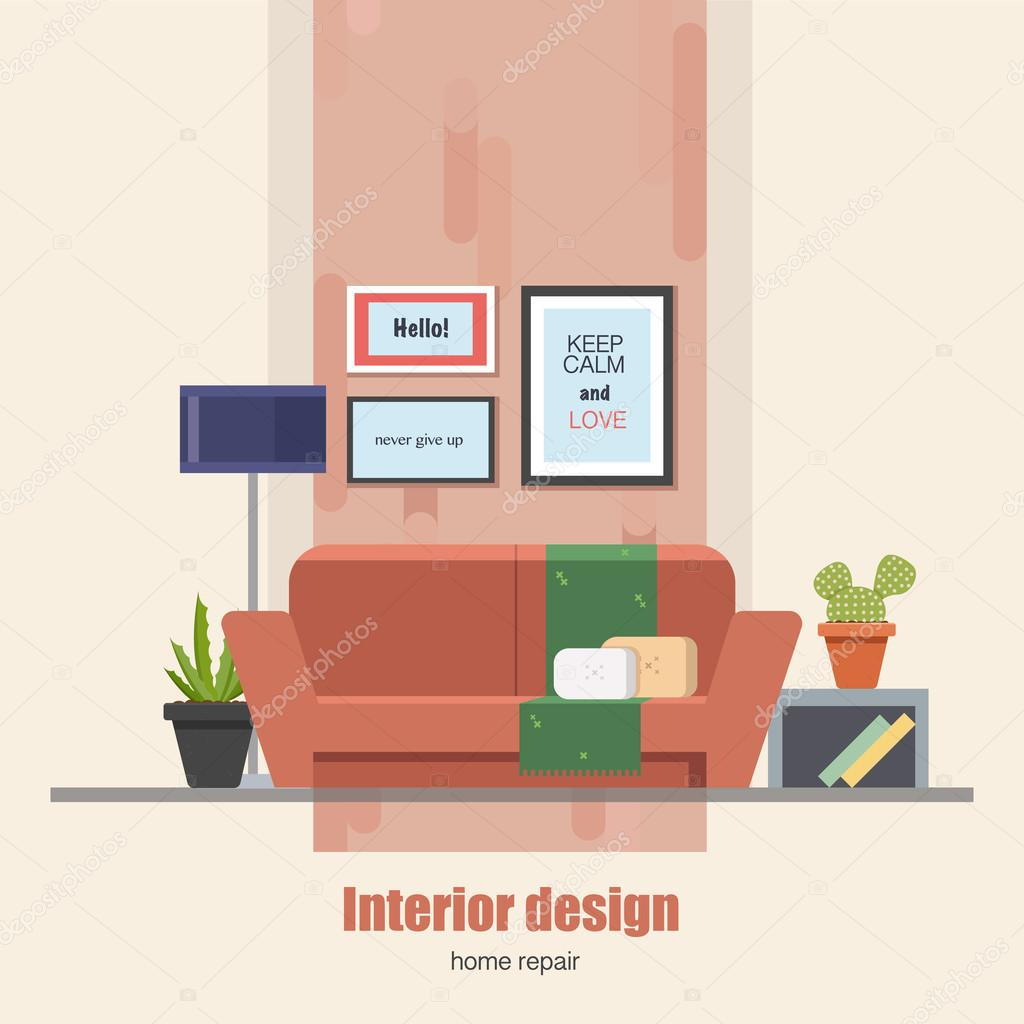 Interior Of Modern Living Room In Flat Design Stock Vector: Home Interior Design Concept Made In Modern Flat Style