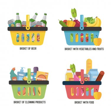 Set Full basket with different goods. Basket with food, beer, fruits and vegetables and household cleaning products. Flat vector icon.