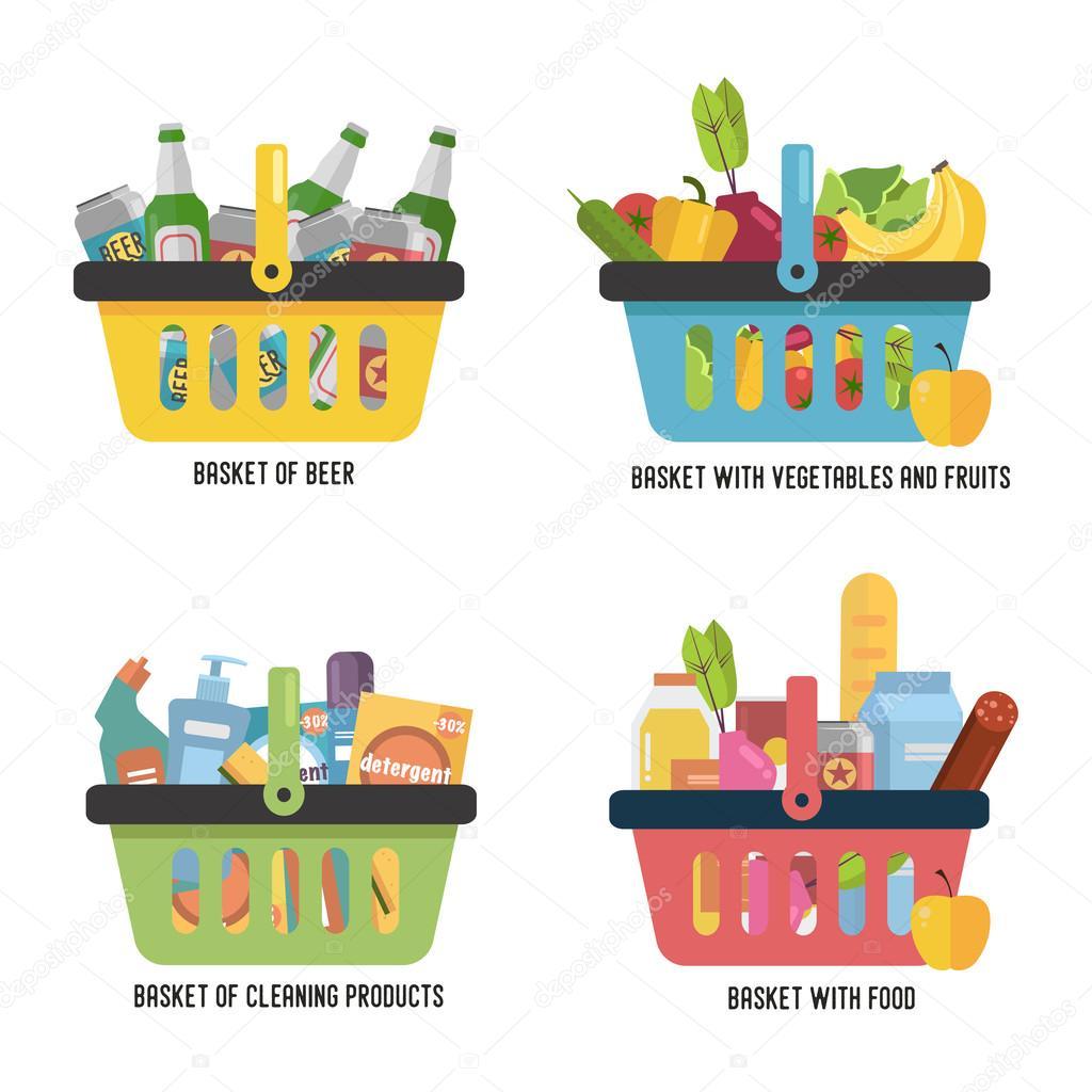 set completo cestino con beni diversi cestino con cibo