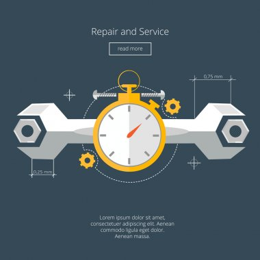 Repair and Service.Home and Mechanic renovation concept.Modern Flat vector illustration