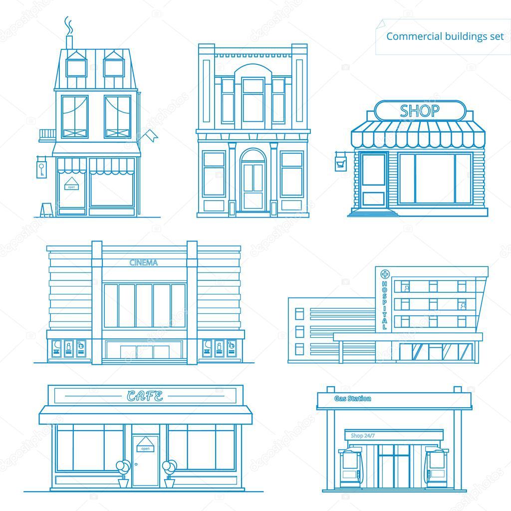 Colección de vectores de edificios iconos e ilustraciones lineales ...