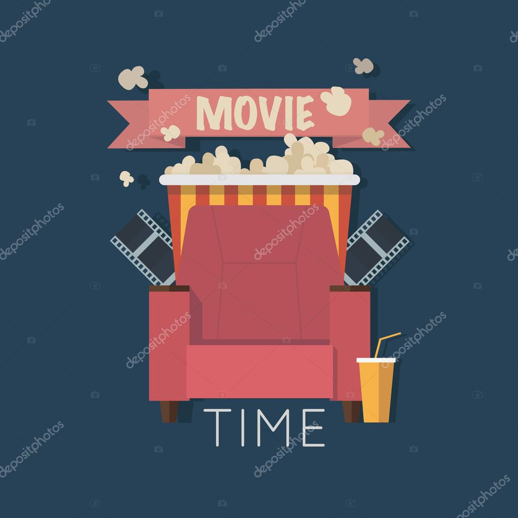 Movie Time Flat Design Illustration. Concept Design On Home Movie Watching  With Sofa,popcorn