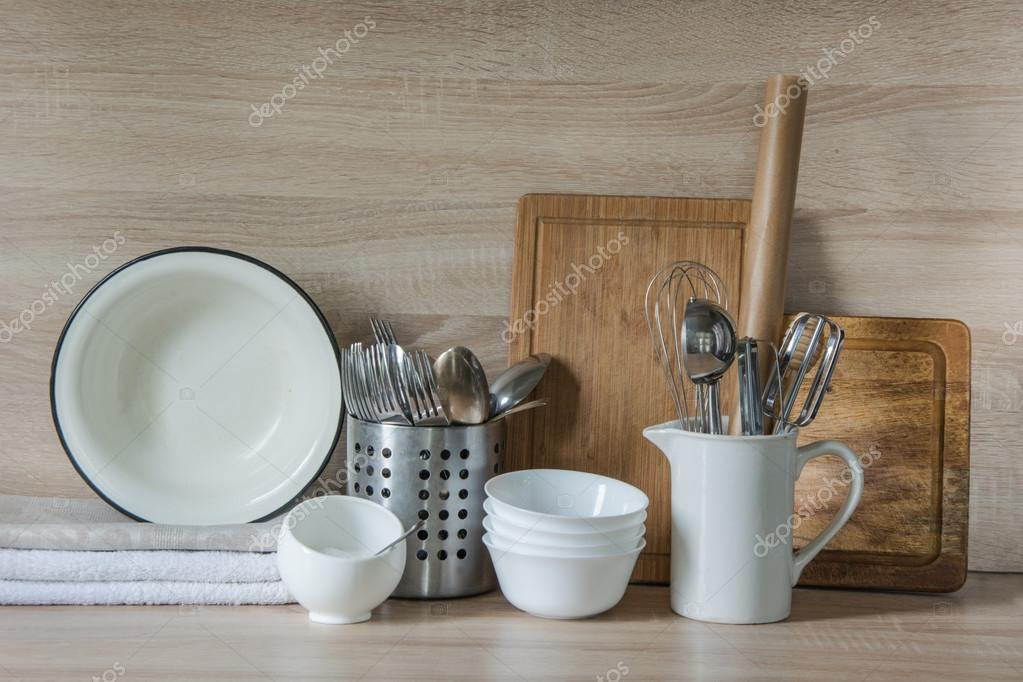 Crockery Tableware Utensils And Other Different Stuff On Wooden