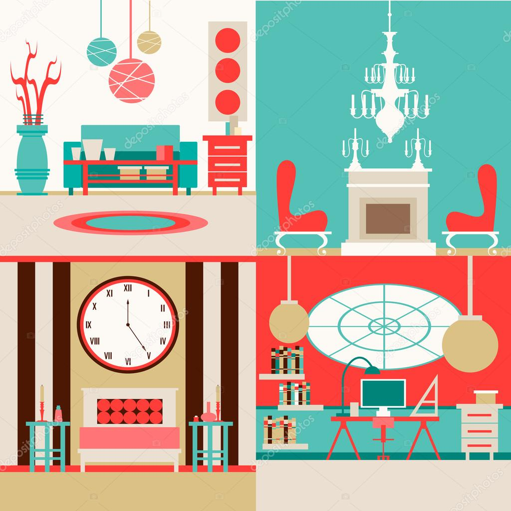 set of interior design made in vector style collection of interiors
