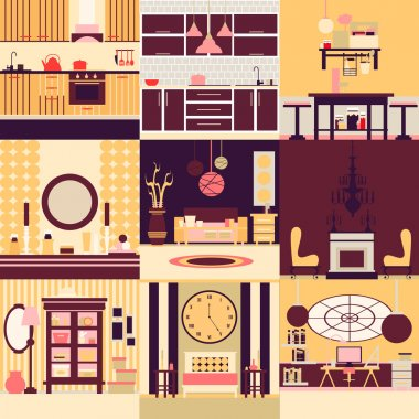 Collection of interior design made in line vector style.