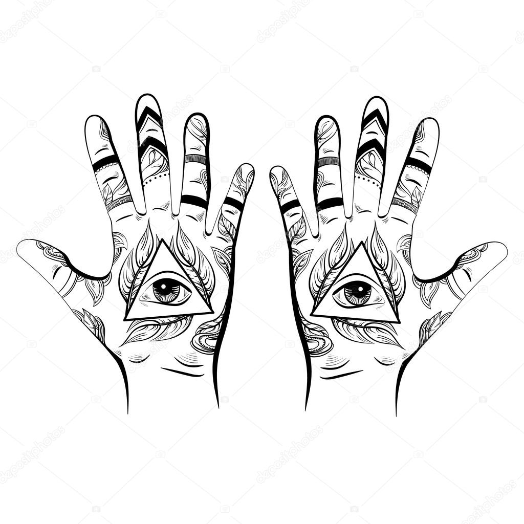 Illusitration Of Hand With All Seeing Eye Pyramid Symbol Stock