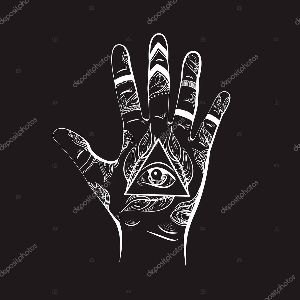 4058ee73133ca Illusitration of hand with All seeing eye pyramid symbol. New World Order. Hand  drawn Eye of Providence. Alchemy, religion, spirituality, occultism.