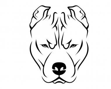 Dog Breed Line Art Logo - Pit Bull
