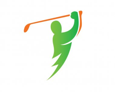 Modern Golf Logo - Green Lightning Golf