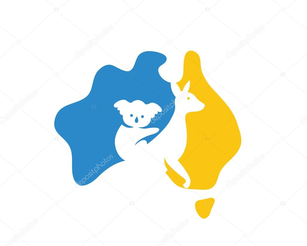 Modern Australia Logo Australia Map Showing A Visual Of Kangaroo - Australia map kangaroo